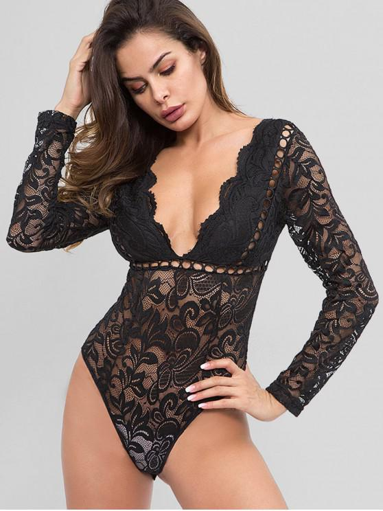 women Hollow Out See Through Lace Bodysuit - BLACK M