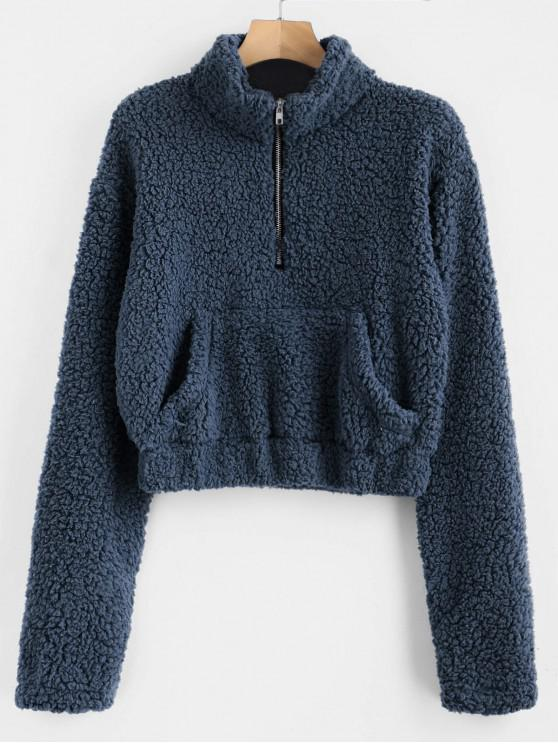 new Half Zip Fluffy Faux Shearling Teddy Sweatshirt - CADETBLUE L