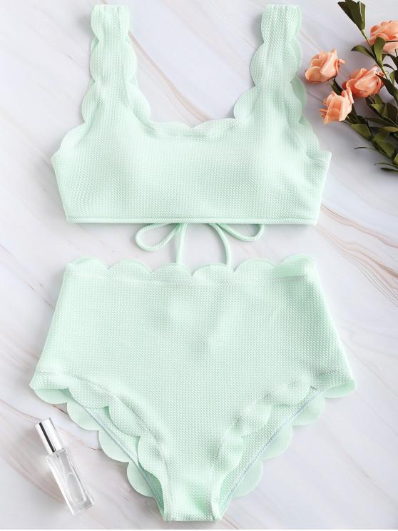 women ZAFUL Scalloped Textured High Waisted Bikini Set - MINT GREEN L