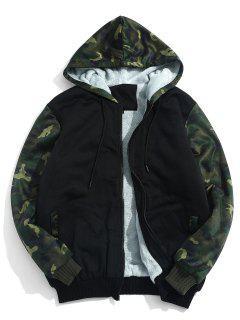 Fluffy Inside Camo Patchwork Jacket - Black S