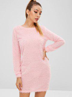 Fluffy Textured Mini Dress - Pink L