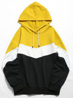 ZAFUL Contrast Color Casual Hoodie - Yellow M