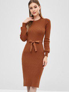 Ribbed Belted Pencil Sweater Dress - Light Brown L