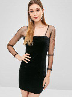 Mini Velvet Mesh Bodycon Dress - Black