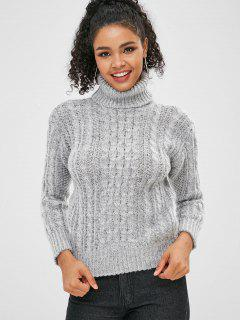 Cable Knit Turtleneck Sweater - Light Gray