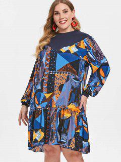 Vestido De Cintura Caída Estampado Más Tamaño - Multicolor