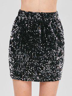 Minifalda Ajustada Con Lentejuelas - Plata
