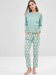 Ensemble De Pyjama à Fente Pour Chat - Bleu Lys Pâle L
