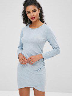 Cinched Raw Hem Bodycon Dress - Sky Blue S