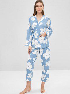 Ensemble De Pyjama à épaules Dénudées Floral Avec Masque Pour Les Yeux - Bleu Pastel L