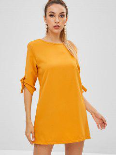 Vestido Túnica Con Puños De Corbata - Amarillo L