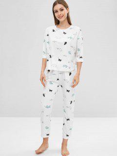 Conjunto De Pijama Con Estampado De Gato En El Hombro Caído - Blanco L