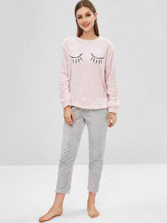 Ensemble De Pyjama à Blocs De Couleur Brodés Moelleux - Cerisier Rose Xl