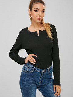 Ribbed Long Sleeve Top - Black S