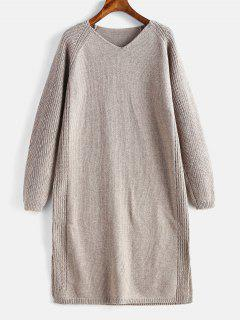 Slit V Neck Shift Sweater Dress - Light Khaki
