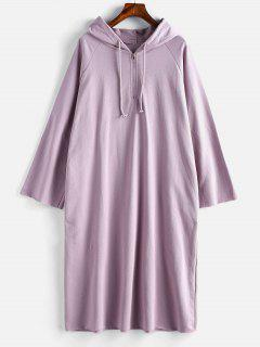 Half Zip Loose Hoodie Dress - Wisteria Purple