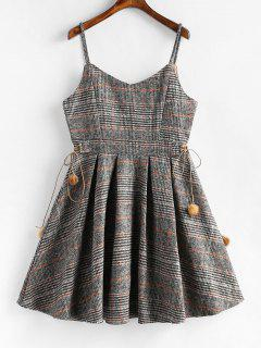 Pompom A Line Plaid Cami Dress - Multi-a L