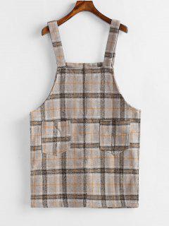 Mini Vestido De Cuadros A Cuadros Con Bolsillo - Tan