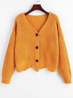 Scalloped Hem Chunky Knit Cardigan - Amarilla De Abeja