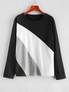 Camiseta Tricolor Con Paneles De Color - Negro L