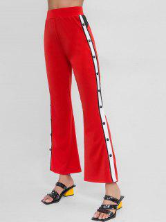Snap Button Side Striped Bootcut Pants - Red M