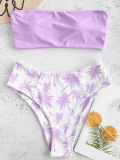 Bandeau-Bikini-Set Mit Kokosnuss-Palmen - Mauve M