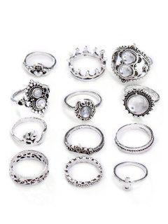 Hollow Out Rhinestone Alloy Rings Set - Silver