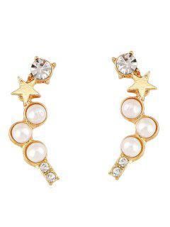 Faux Pearl Star Rhinestone Stud Earrings - Oro