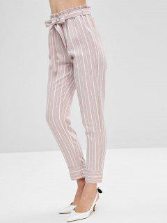 Belted Striped High Waisted Tapered Pants - Lipstick Pink S