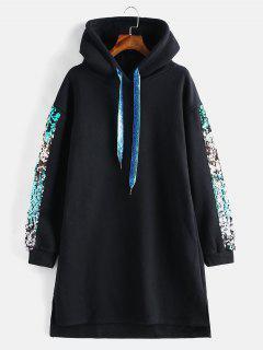 Fleece Sequined Glitter Slit Hoodie Dress - Black S