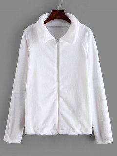Zipper Raglan Sleeve Fluffy Jacket - White M