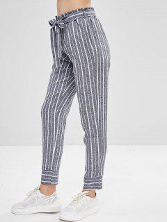Belted Striped High Waisted Tapered Pants - Deep Blue S
