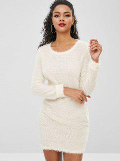 Fluffy Textured Mini Dress - Warm White S