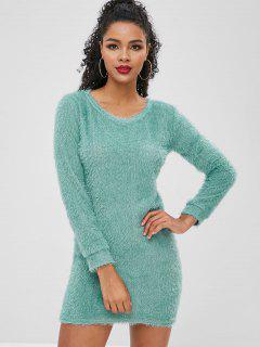 Fluffy Textured Mini Dress - Blue Hosta S