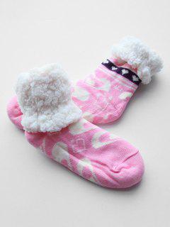 Heart Shape Fleece Winter Socks - Pink