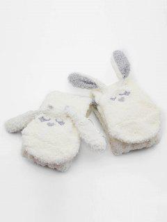 Rabbit Design Coral Fleece House Socks - White