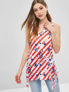 American Flag Print Fringed Tank Top - Multi M