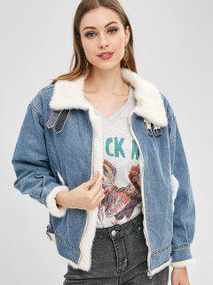 Buckled Faux Fur Lined Winter Denim Jacket - Denim Blue L