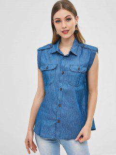 Patch Pockets Chambray Sleeveless Shirt - Blue S
