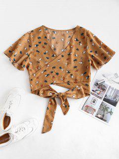 Blusa Corta Floral Con Manga De Flutter - Sandy Brown Xl