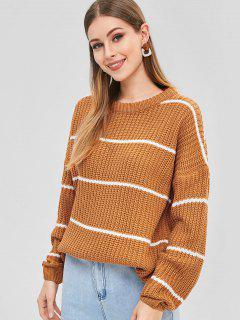 Suéter De Rayas De Gran Tamaño - Marrón Claro