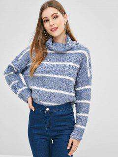 Heathered Striped Cowl Neck Sweater - Blue