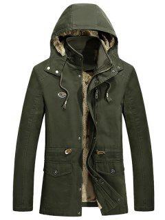 Waist Drawstring Faux Fur Lined Jacket - Army Green L