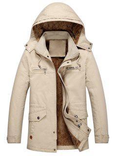 Pockets Faux Fur Lined Jacket - Khaki L