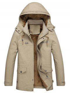 Pockets Faux Fur Lined Jacket - Dark Khaki S
