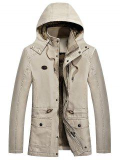Waist Drawstring Faux Fur Lined Jacket - Khaki S