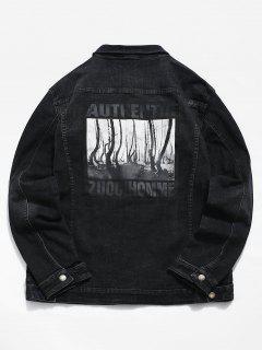 Trees Pattern Button Fly Denim Jacket - Black Xs