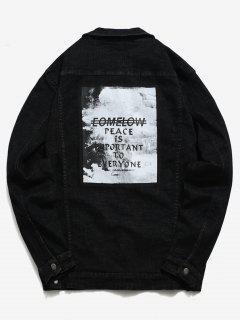 Button Up Letter Printed Denim Jacket - Black M