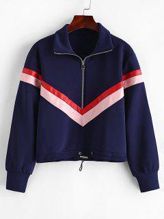 Zig Zag Zipper Sweatshirt - Cadetblue S