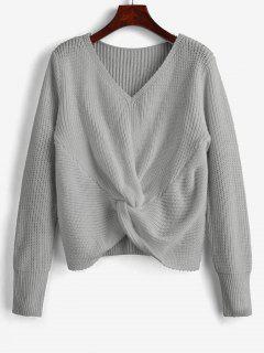 Suéter Tipo Jersey Con Cuello En V - Gris